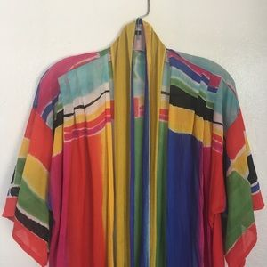 Vintage 1980's Sheer Technicolor Robe